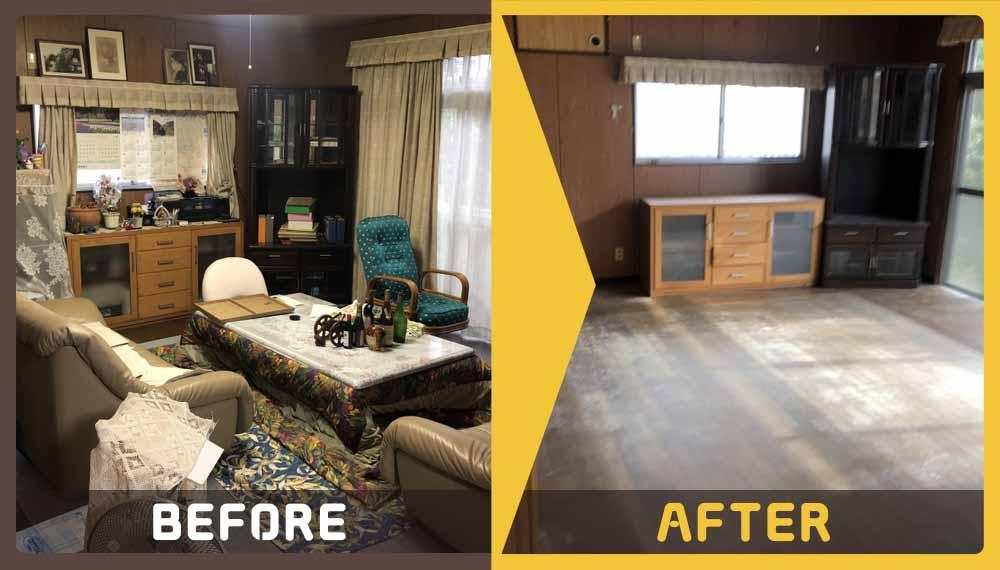 5DK一軒家の不用品(冷蔵庫、タンス、食器棚、ベット、布団、テ-ブルなど)処分希望のお客様よりご依頼頂きました。