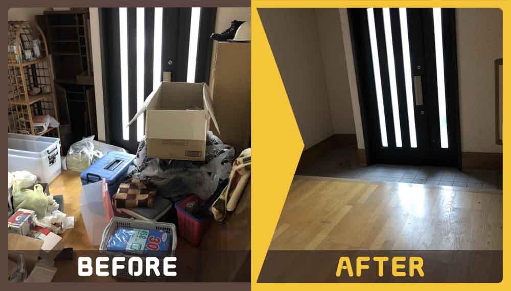 ご不用品(衣装ケース、棚、タンス、椅子、学習机、ラック、カーペット、雑貨など)で家の中がごみ屋敷のような状態になりお困りのお客様よりご依頼頂きました。