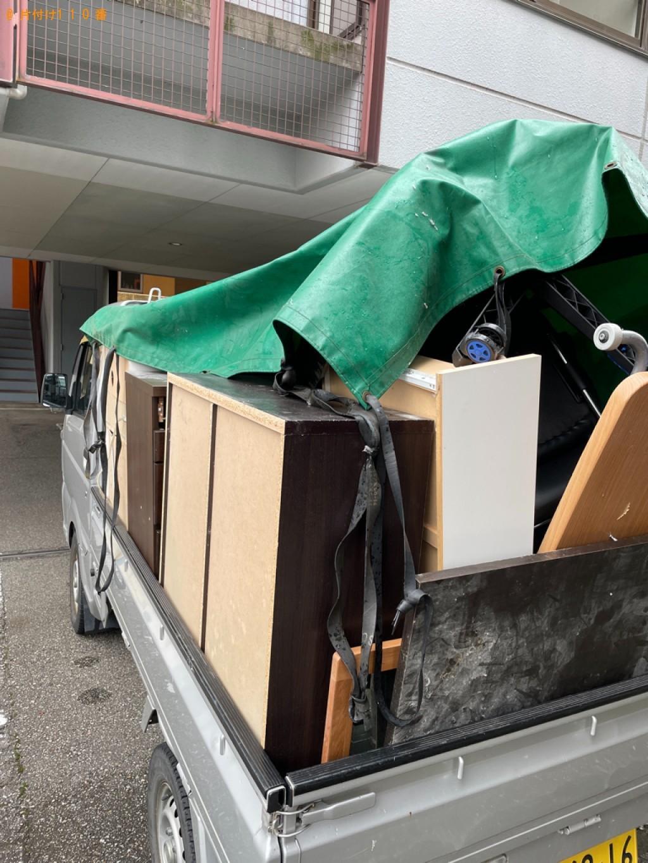 【二本松市】遺品整理でスタンドミラー、本棚、シングルベッド等の回収